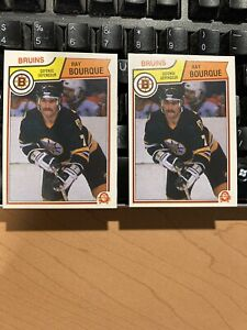1983-84 O-PEE-CHEE NHL HOCKEY CARD #45 RAY BOURQUE NM-MT+ OB GRADABLE LOT OF 2