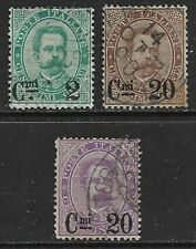 ITALY 1890 Umberto I Surcharges Set of 3 SG 44-46 Used (CV £130)
