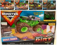 Monster Jam Dirt Deluxe Set With Kinetic sand Ages 3+ Toy Car Track Play Race