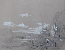 ERNST FROHLICH DESSIN LE RHIN,EGLISE ST APOLLINAIRE et REMAGEN circa 1840