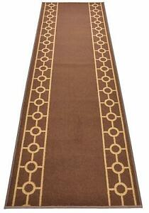 "Antibacterial Custom Cut to Size Non Skid Brown Chain Bordered Runner Rug 26"" W"