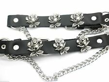 Boot Straps W Roses Black Leather Biker Western Chain Buckle Women's New PAIR