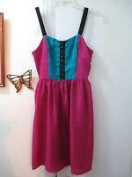 Xhilaration  -  Burgundy w/Teal & Black Sleeveless Dress w/smocking  -  size S