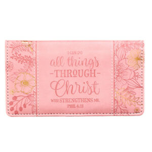 Checkbook Cover I can Do All Things Through Christ Coral and Gold BRAND NEW
