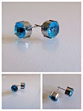 New Silver Color Round Stud Stone Blue Earring Set