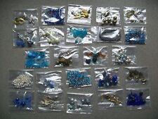 24 x Tüten mit Perlen & Zubehör - BLAU TÜRKIS SILBER BRAUN, Schmuck basteln