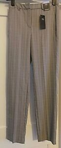 BNWT  MARKS & SPENCER STRAIGHT LEG GREY MIX CHECK TROUSERS  SIZE  8 LONG