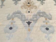 Schumacher Ikat Linen Upholstery Fabric- Raja Embroidery Stone 0.50 yd ( 65813 )