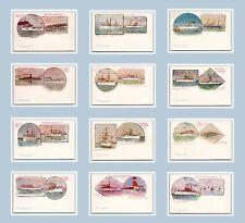 US NAVY THE WHITE SQUADRON SET OF 12 POSTCARDS COPYRIGHT 1897 AMERICAN SOUVENIR