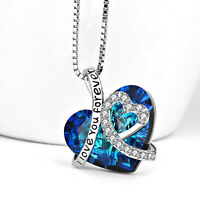 """18K White Gold Plated Blue Topaz Heart Love Pendant Necklace 18"""" Chain Gift Box"""