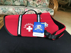 Paws Aboard LIFEGUARD Red Neoprene Dog Life Vest Safety Jacket MEDIUM M 20-50 LB