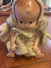 Vintage 7� Plastic Girl Side Glance Boobsie (?) Doll Molded Hair Crochet Outfit