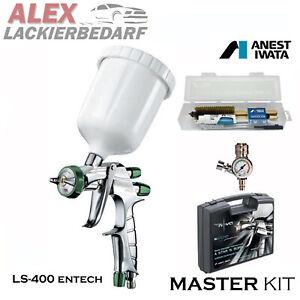 IWATA MasterSet Lackierpistole LS400 1,3mm Düse Druckregler+ Reinigungs-Set