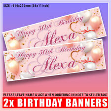 2 PERSONALISED ROSE GOLD BIRTHDAY BANNERS - PINK HEARTS, ANY NAME, ANY AGE