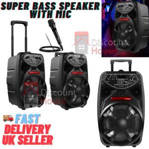 "Wireless Bluetooth Stereo Bass Trolley Speaker 8"" with Mic FM Radio Lights"