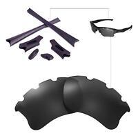 Walleva Polarized Black Vented Lenses And Rubber Kit For Oakley Flak Jacket XLJ