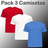 Pack 3 camisetas 100% algodon lisas PASHAG hombre unisex lote surtidas Nuevos