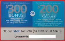 Chase $600 Bonus Offer Total Checking $300 w/ Direct Deposit Savings $200 > $500