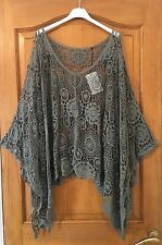 PLUS SIZE Ladies Italian Lagenlook Layering Batwing CROCHET BOXY Poncho Top Khki