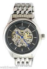 Rotary Mens Black Skeleton Dial Stainless Steel Bracelet Watch GB00162/04