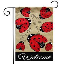 "Ladybug Gathering Burlap Spring Garden Flag Welcome 12.5"" x 18"" Briarwood Lane"