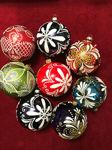 Large 10 cm Glass Handcrafted Christmas Ornament Bauble  various design & clours
