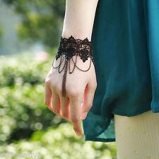 Gothic Black Knitted Lace Flower Handmade Chain Tassel Bracelet Vintage Style
