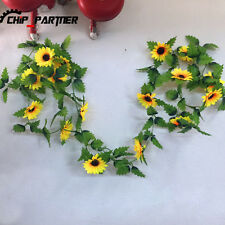 5pcs 2.4m Sunflower Artificial Silk Fake Flowers Ivy Leaf Garland Plants