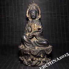 "10"" Old China Buddhism Temple Bronze Guanyin Bodhisattva Buddha Statue Sculpture"