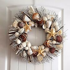 "21"" Sea Shell Wreath on Birch Twig with Alphabet Shells & Star Fish Details"