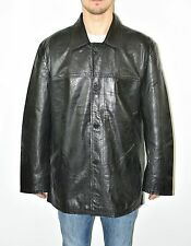 Vintage Black Leather SAKI Loose Fit Button Biker Men's Coat Jacket Size XL