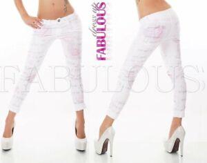 New Women's European Printed Summer Jeans 3/4 Pants Size 8 10 12 14 S M L XL