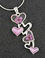 Equilibrium Eternal Flowers Tumbling Hearts Silver Plated Necklace Gift Boxed