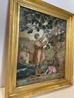 Antique English Petit-point Man With Child Trimming Large Tree Circa 1820 Framed