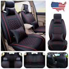 US Car Seat Cover PU leather 5 Seats Cushion Front+Rear Pillows Size M Black&Red