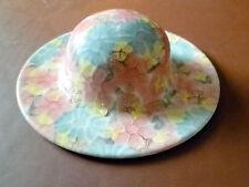 PARK ROSE CERAMIC PINK, YELLOW & BLUE HAT BRIDLINGTON POTTERY