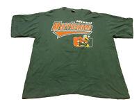 Vintage 90s Starter Miami Hurricanes T-Shirt Green Size XL Fits 2XL Vintage