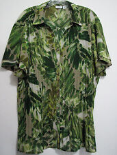 Cato NWOT 18/20 Crinkle Green Leaves Bat Sleeve Polyester Button Shirt Top
