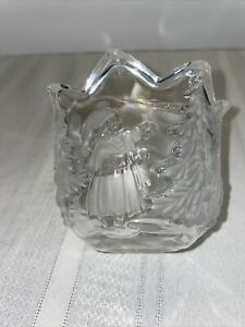 Waltherglas Crystal Candle Holder Clear Frosted Glass Germany Forest Scene