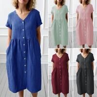 ZANZEA 8-24 Women Button Down Shirt Dress Sundress V Neck Cotton Long Midi Dress