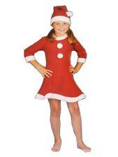 Girls Santa Outfit. Xmas Father Christmas Suit Fancy Dress Costume Pom Pom Hat