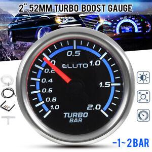 "Universal 2"" 52mm Turbo Boost Pressure Gauge BAR Black Face Auto Car Meter 12V"