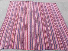 Old Tribal Nomadic Hand Made Persian Oriental Pink Wool Jajim Kilim 197x184cm