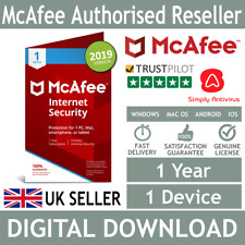 McAfee Internet Security 2018 / 2019 1 Device 1 Year *5 Min Delivery by Email