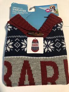 "Vibrant Life Warm Knit Dog Sweater Bark MEDIUM 17"" BEAGLE STANDARD POODLE SIZE"