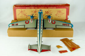 "1950s Marx Toys 19"" Tin Friction Sky Cruiser Stratoliner 700 Transport Plane Box"