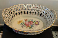 ANTIQUE Vintage CARL THIEME DRESDEN Easter BASKET BOWL RETICULATED Centerpiece
