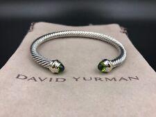 DAVID YURMAN 5mm Sterling Silver & 14K Gold Cable Classic Bracelet w Peridot