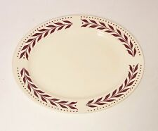 """Homer Laughlin China Red Hemlock Brittany 11"""" Oval Serving Platter Leaves Dots"""