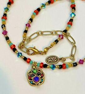 Rainbow Crystal Beaded Necklace by Michal Golan glass beads + Swarovski crystal